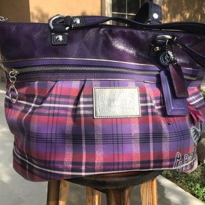 Coach purple bag, dark purple interior